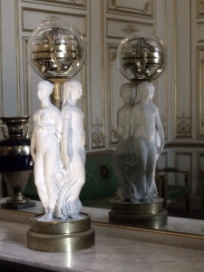 A clock of three goddess of fate at Le Salon Blanc